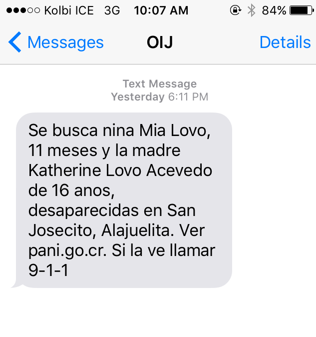 Text message by OIJ sent to all cellular users in the country