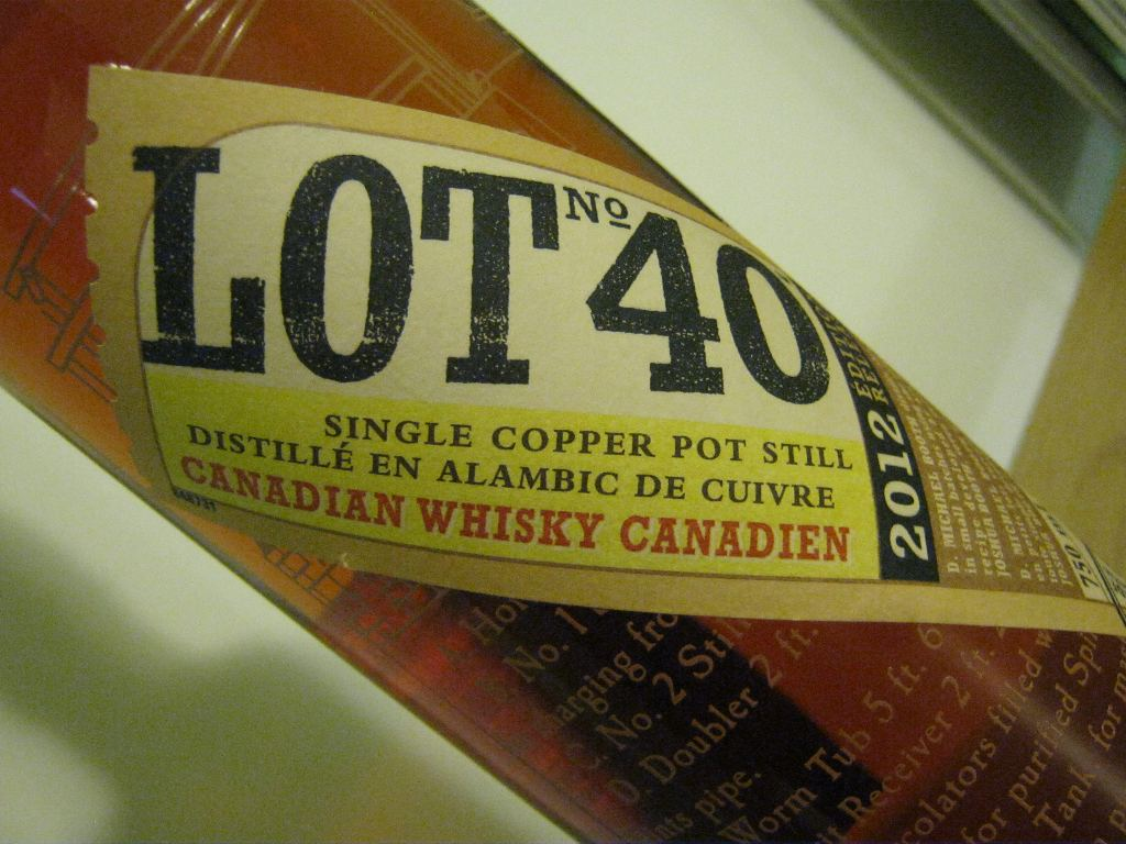 Lot No. 40 is a rye whisky distilled in Windsor, Ontario.