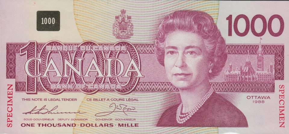 The remaining Canadian $1,000 notes are the highest denomination legal tender in the Western world