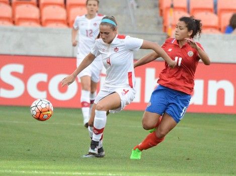 Semi-final game of the CONCACAF Women's Olympic Qualifying semi-finals, in which Canada faced Costa Rica on Friday, February 19, 2016. (Photo by Darla Tamulitis-La Vita Loca Photography, Used with Permission.)