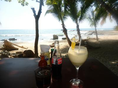 Time for Rum 'n Coke and a Piña Colada at Caracolas beachfront restaurant