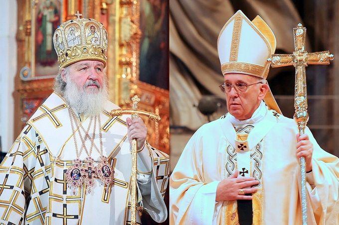 Russian Orthodox Patriarch Kirill (L) Credit: Patriarchia.Ru/PopeFrancis (R) Credit: Alexey Gotovsky/CNA.