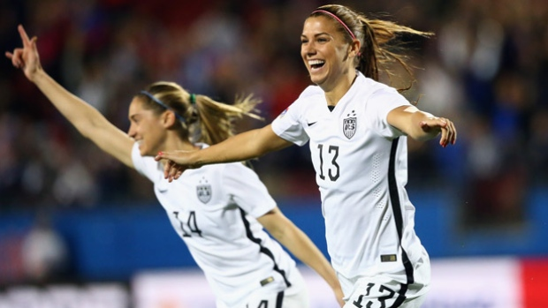 Alex Morgan of the U.S. women's national soccer team, No. 13, scored just 12 seconds into the Olympic qualifying match against Costa Rica, believed to be the fastest goal in U.S. soccer history. The U.S. rolled to a 5-0 win. (Ronald Martinez/Getty Images)
