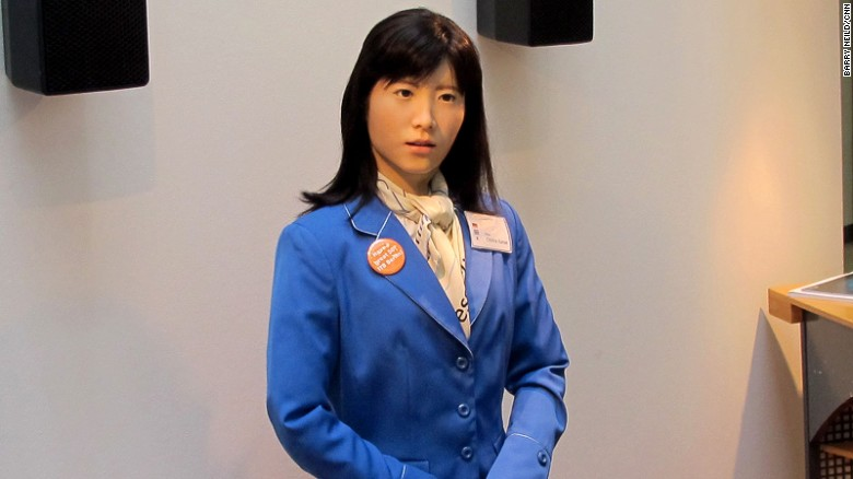 Robots in hotels – Robot receptionist ChihiraKanae, created by engineers at Toshiba, made a recent appearance in Berlin. She speaks 19 languages and, as she's fond of telling random strangers, is a Gemini.