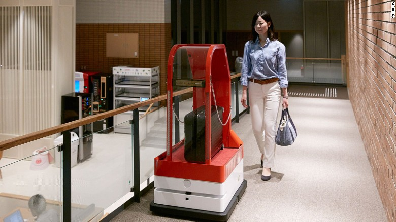 """Who's running the show? – Travelzoo's European president, Richard Singer, points out that the Japanese robot hotel has humans working behind the scene. """"I would be very surprised if we get to the point where hotels are entirely manned by robots."""""""