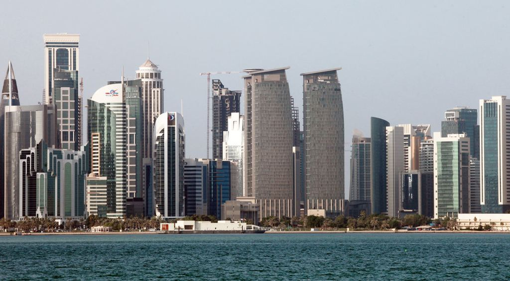 City skyscrapers stand on the skyline in Doha, Qatar