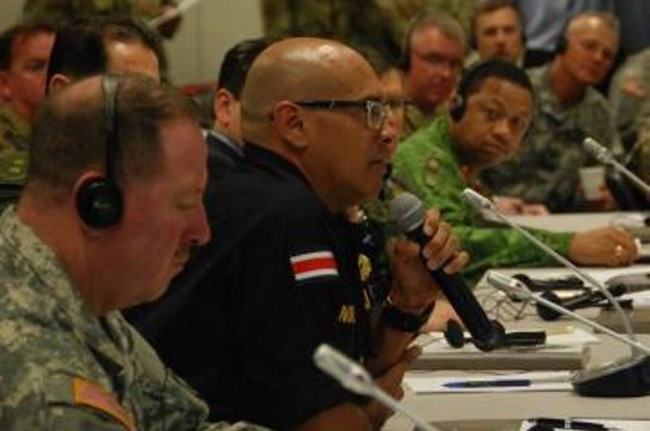 Commissioner Juan Jose Andrade Morales, director general of Costa Rica's police, spoke during the Central America Regional Leaders Conference from March 8th-10th at the Joint Base San Antonio-Fort Sam Houston in the U.S. state of Texas. [Photo: U.S. SOUTHCOM]
