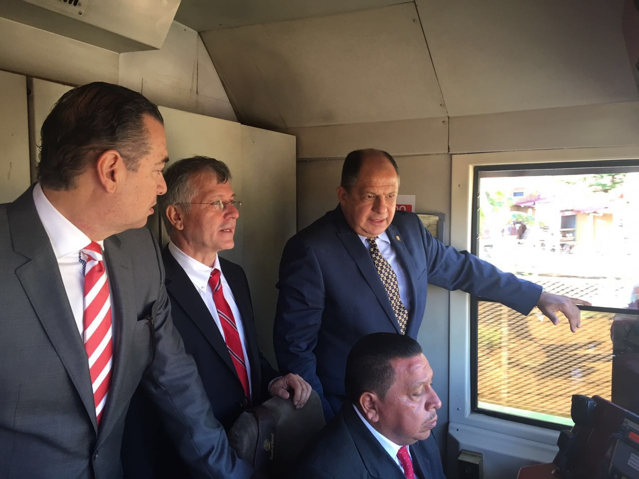 President Luis Guillermo Solis and aboard the train suspected of being
