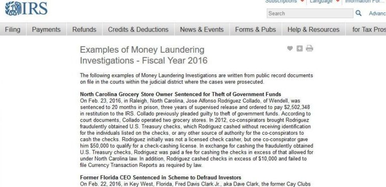 Costa Rica Examples Of Money Laundering Highlighted In IRS Reports