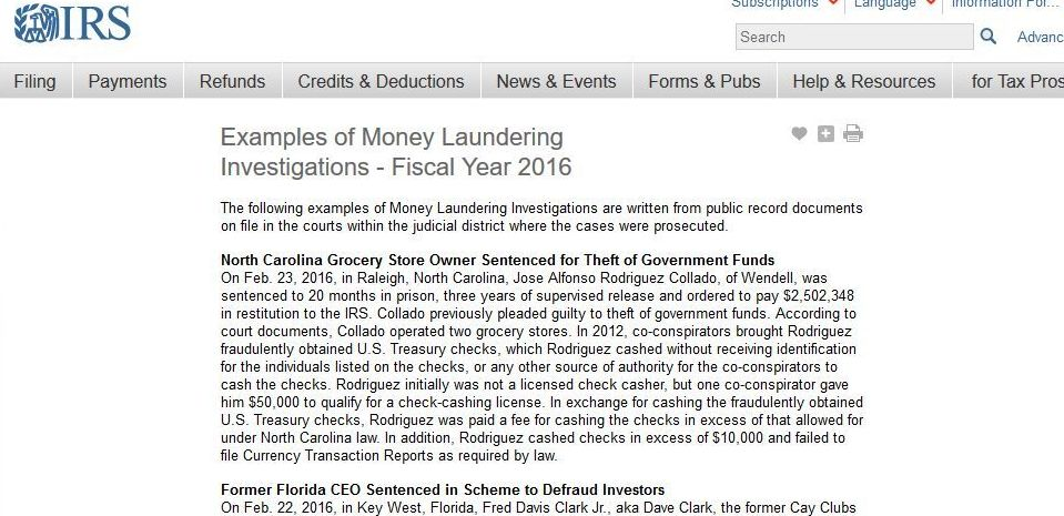 IRS fiscal investigation report cite Costa Rica as examples of money laundering