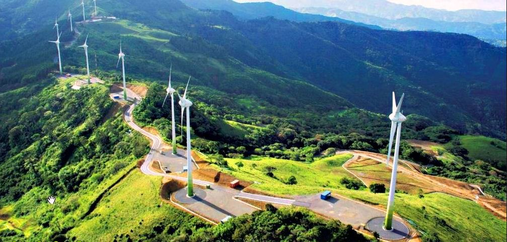 Santa Ana, Costa-Rica Wind Turbines. In the first quarter of 2016, 15.6% of energy was produced through wind power.