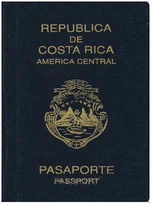 Costa Rica passport is blue