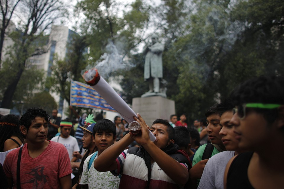 A pro-marijuana rally outside the Mexican Senate