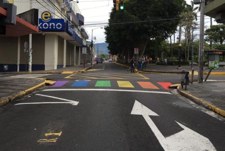 Downtown Heredia Painted Crosswalks With The Colours of Sexual Diversity