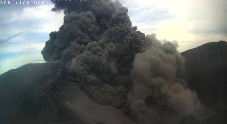 Early Friday Morning Eruptions At The Turrialba Volcano Spreads Ash In The Central Valley