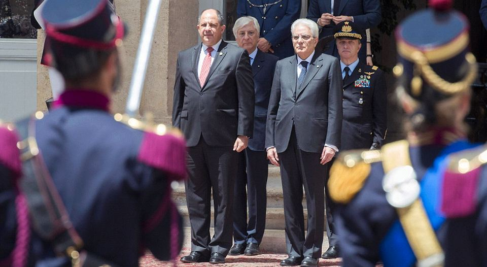 Costa Rica President is received formally by Italy's president, Sergio Mattarella at the Quirinal Palace, in Rome, one of the three current official residences of the Italian President.