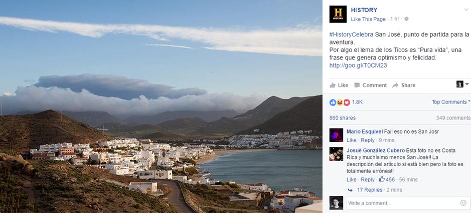 The History Channel on its Facebook post used the wrong photo to promote San Jose Costa Rica. The photo is of San Jose, California