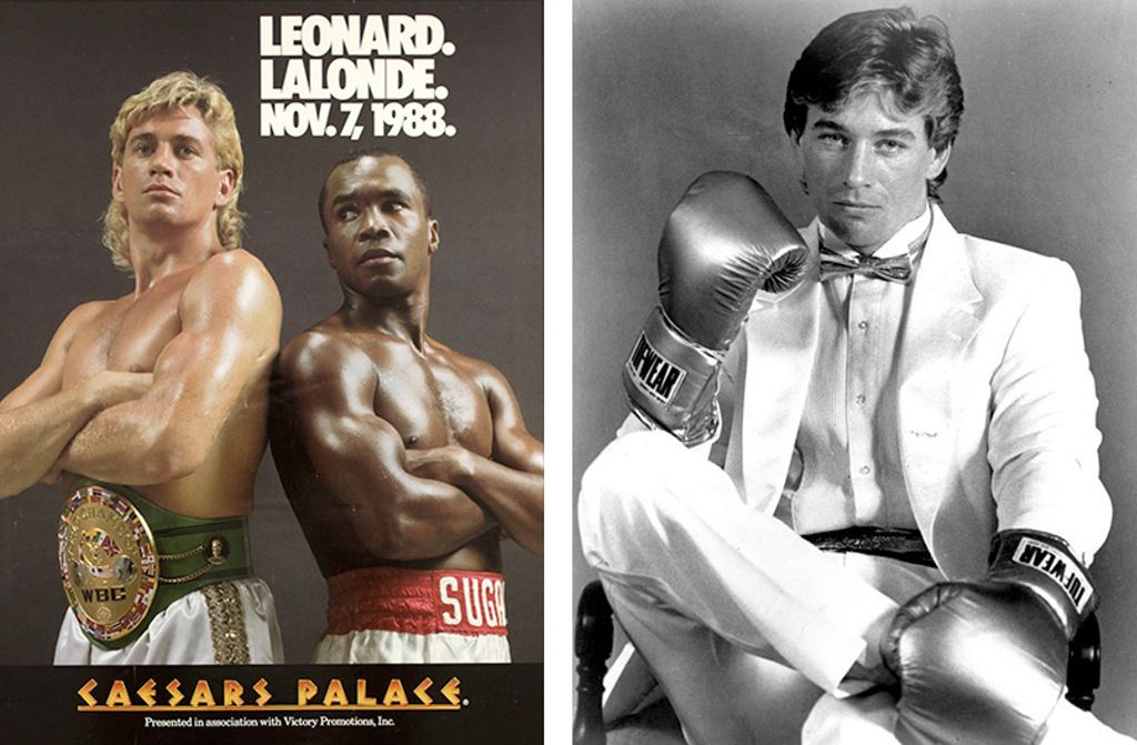Posters such as these demonstrate Lalonde's profile as a successful prize fighter in the 1980s. His name recognition proved a valuable asset in his later business ventures. (YouTube and Winnipeg Free Press)
