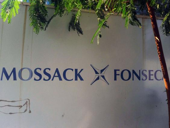 View of a sign outside the building where Panama-based Mossack Fonseca law firm offices are placed in Panama City on April 3, 2016. (AFP/Getty Images)