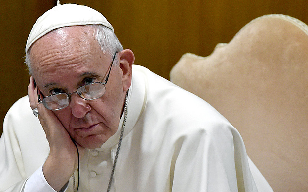 Could this have been the face of Pope Francis while he waited for President Solis to arrive? Photo for illustrative purposes from the Telegraph.co.uk
