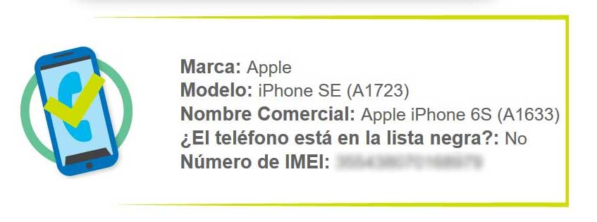 Results of the IMEI check on the Sutel website
