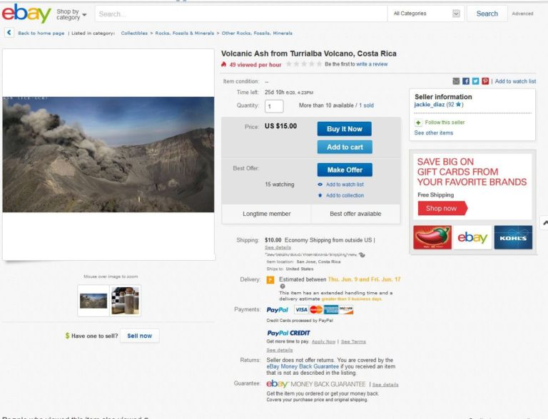 Volcanic Ash From Costa Rica Sold On Ebay. Really?