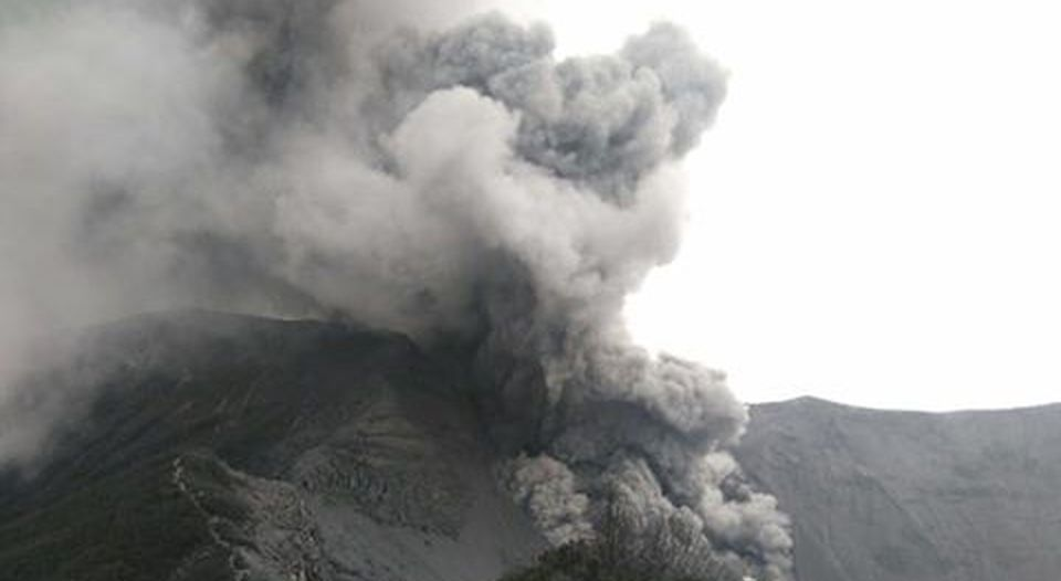 Photo of Turrialba volcano eruption Monday at noon from the RSN