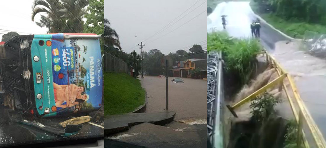 Overflowing rivers, 50 traffic accidents and an overtuned bus were results of the Thursday afternoon heavy rains