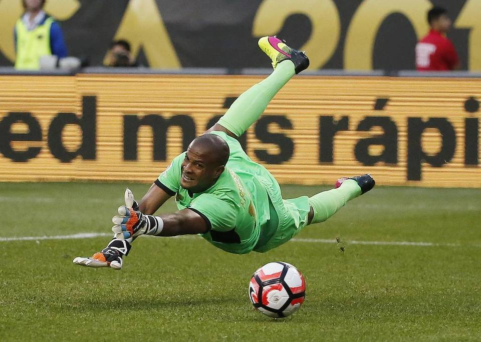 Costa Rica's Patrick Pemberton (18) dives but cannot make a save on a shot by United States' Jermaine Jones (13) during a Copa America Centenario group A soccer match against Costa Rica at Soldier Field, Tuesday, June 7, 2016 in Chicago. Charles Rex Arbogast The Associated Press