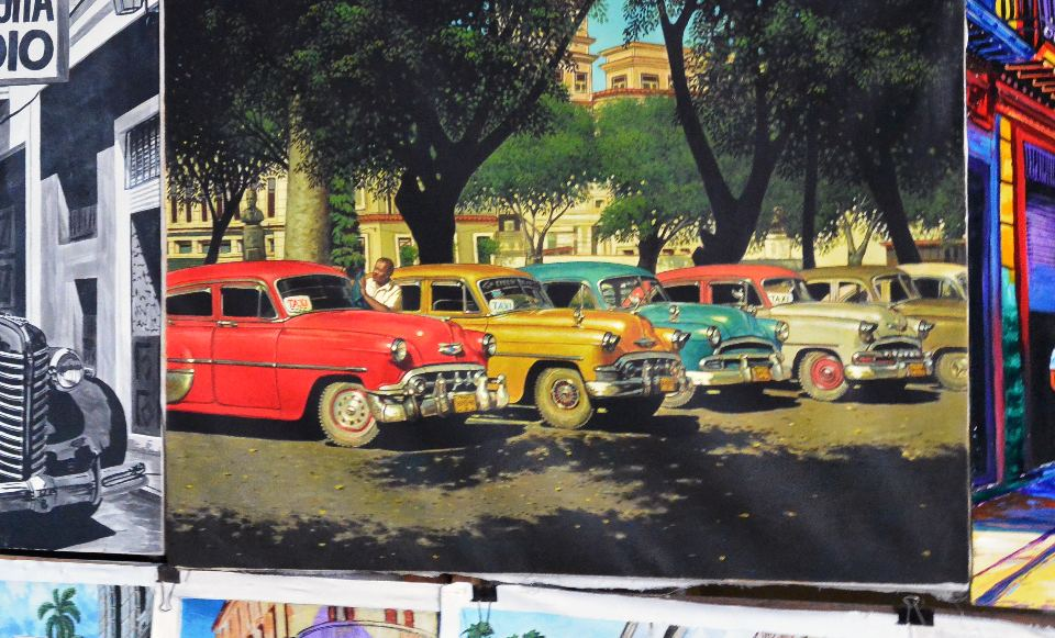 A rendering of the old cars in Cuba, the majority, some 60 years later, still used daily