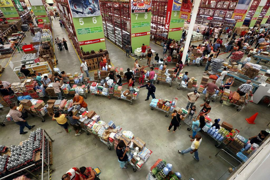 Long lines at supermarkets in Venezuela.