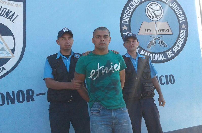 Michael Adrián Salmerón Silva following his arrest in Nicaragua in February