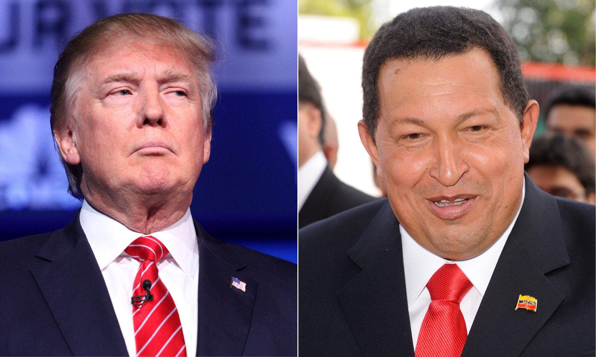Both Donald Trump and Venezuelan leader Hugo Chávez broke all the rules of presidential conduct. Composite: Rex Features