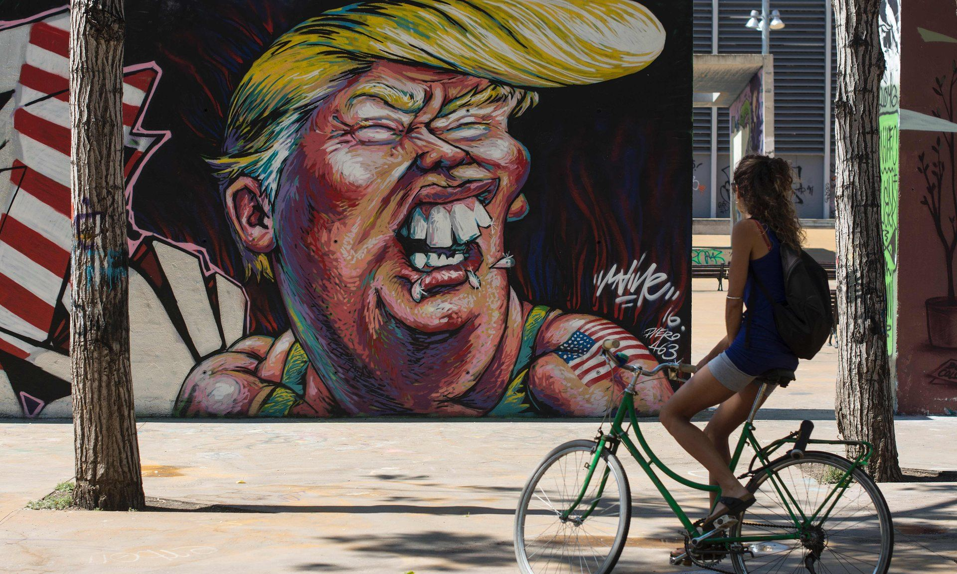 Donald Trump's mix of bombast, menace and bawdy humor echoes that of the comandante. Photograph: Josep Lago/AFP/Getty Images