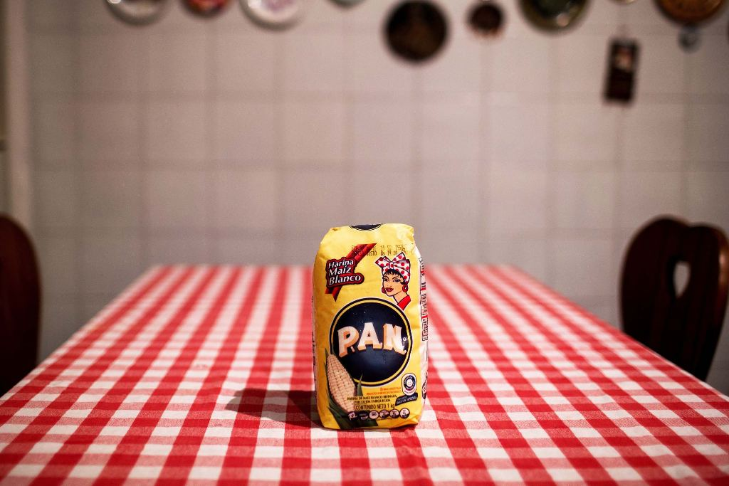 Harina P.A.N., the corn flour Venezuelans use to make arepas, on Zerpa's kitchen table.