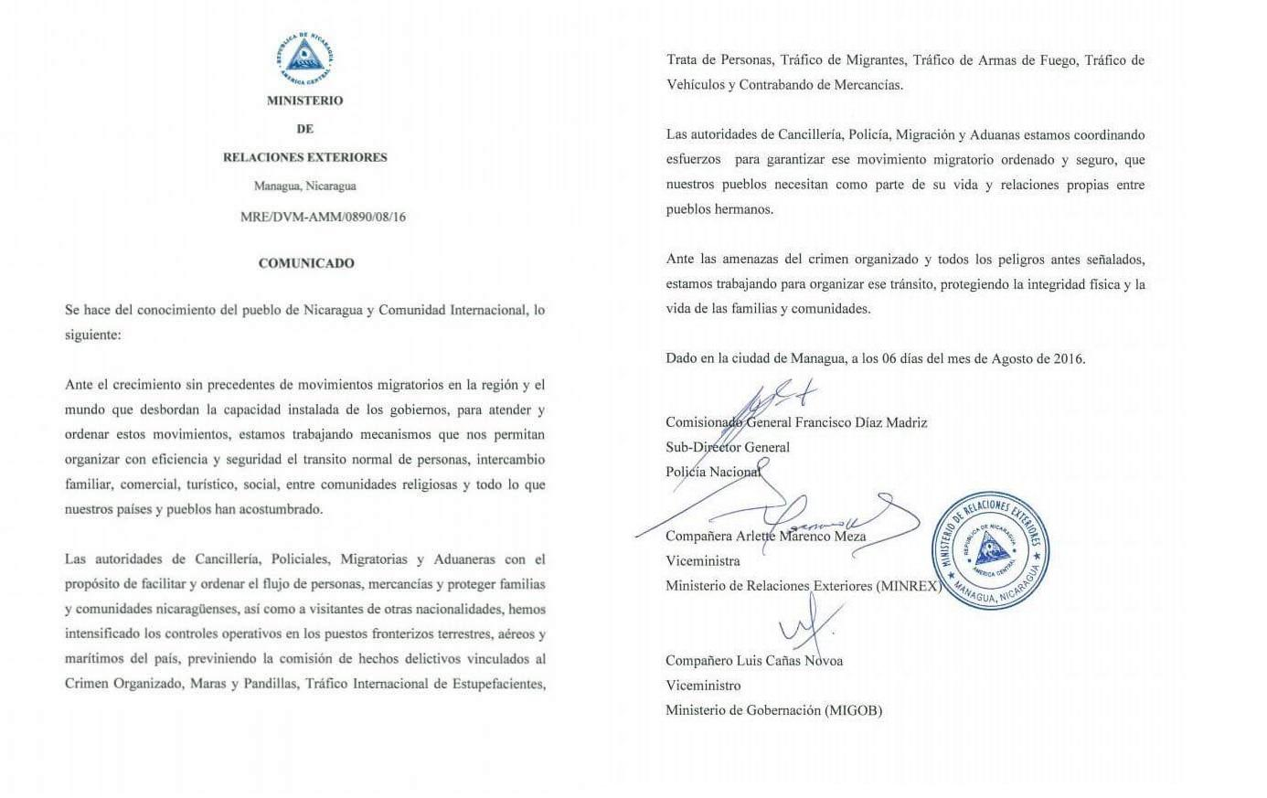 "Statement from the Ministry of Foreign Affairs of Nicaragua traffic ""orderly and safe"" of migrants. (Reproduction)"