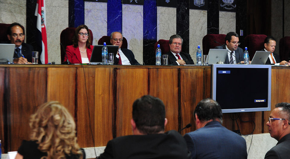 The magistrates of the Constitutional Court (from left), José Paulino Hernández (from left), Nancy Hernandez, Fernando Castillo and Fernando Cruz. File photo.