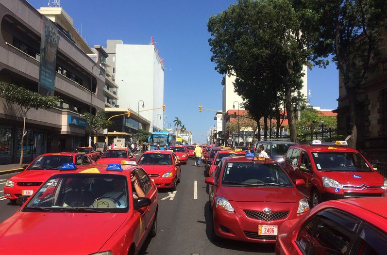 File phot of taxi driver protest