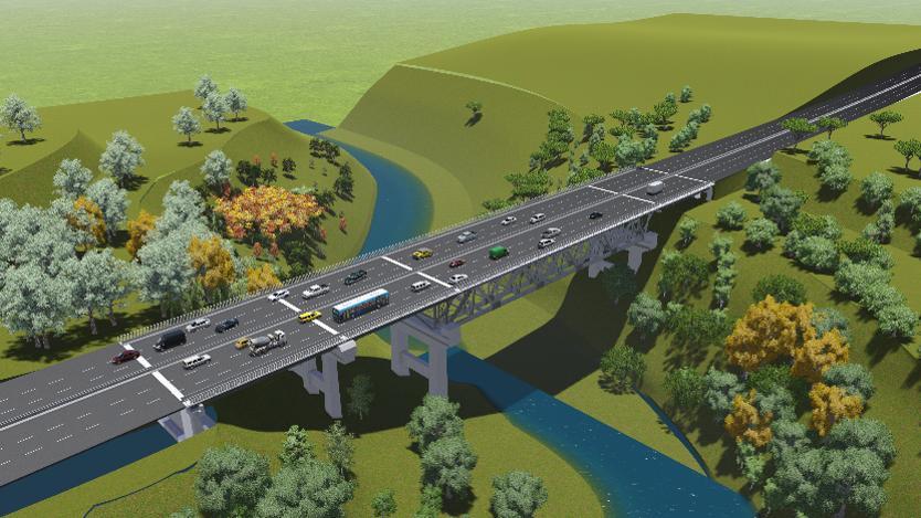 Artist rendering of a completed six lane bridge