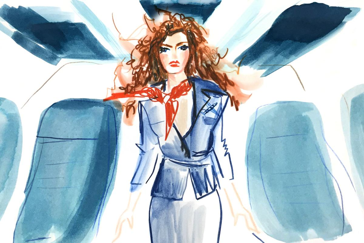 Types-of-People-Youll-Find-in-An-Airport-Man-Repeller-Katherine-Irwin-disgruntled-flight-attendant