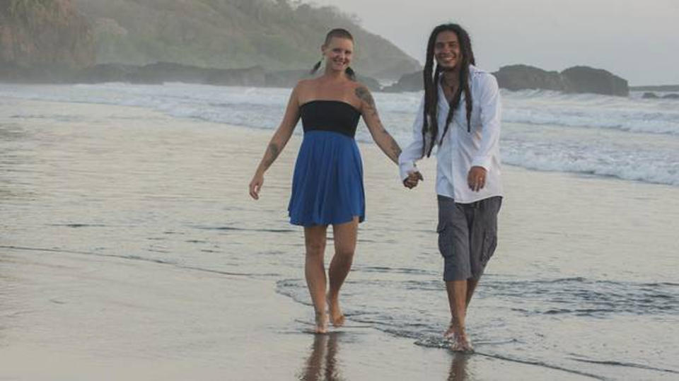 Meg Pearson in Costa Rica with her husband. (Lilian Critchlow Noa's Art Inc)