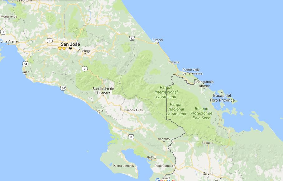The Parque La Amistad is locared in the southern zone, reaching into Panama