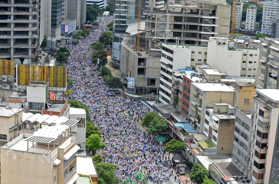 People from different states of Venezuela rallied on Thursday at different places of Caracas, as planned by opposition alliance Unified Democratic Panel