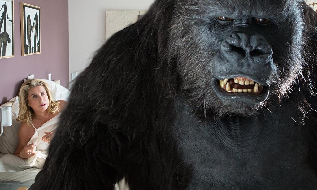Catherine Deneuve invites a gorilla into her boudoir in The Brand New Testament