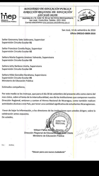 Circular by the Minister of Education