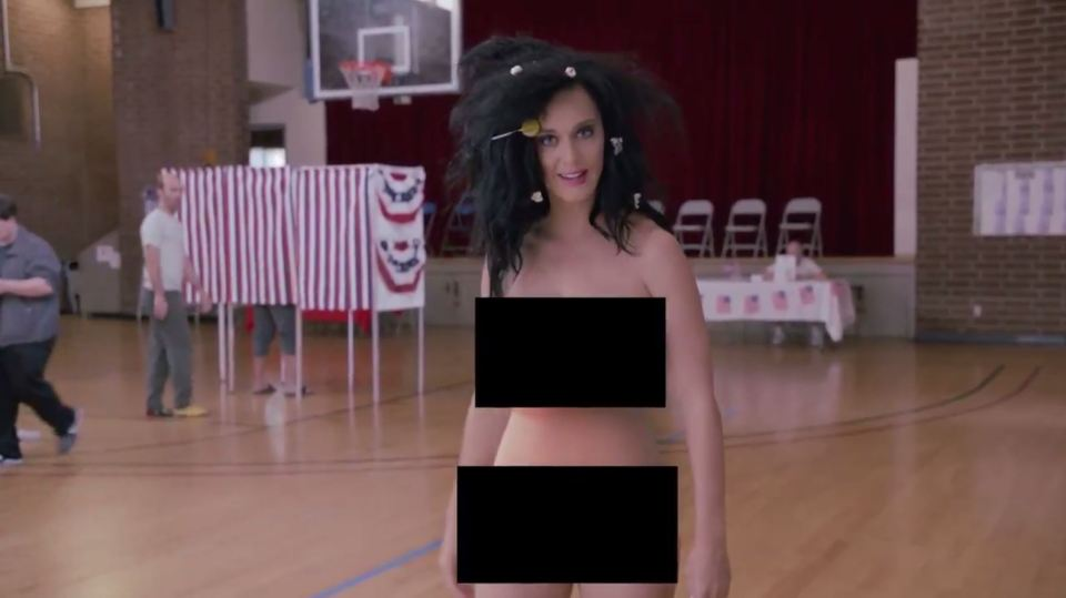 Katy Perry also stripped off to encourage voter.