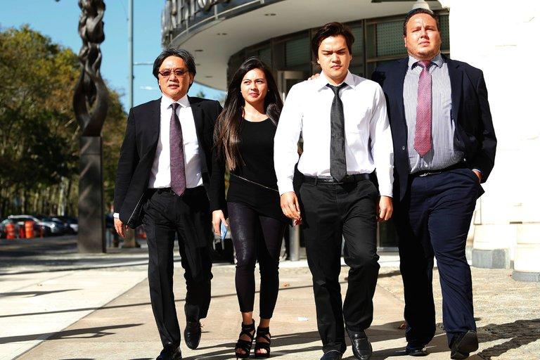 Eduardo Li, far left, the former president of Costa Rica's soccer association, leaving federal court in Brooklyn on Friday. Credit Kena Betancur/Agence France-Presse — Getty Images