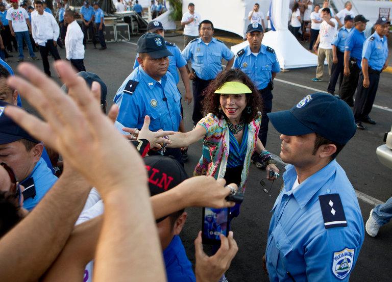 Rosario Murillo greeted supporters in 2014 in Managua, Nicaragua. Credit Esteban Felix/Associated Press