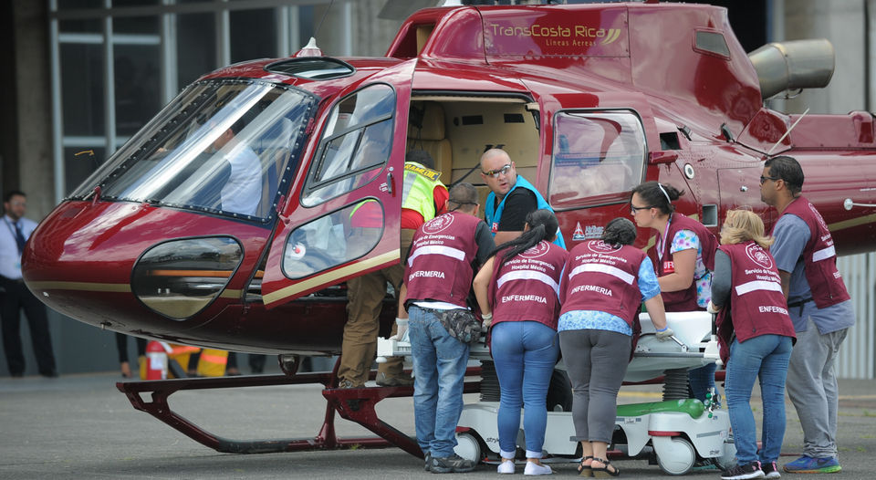 The helicopter was one of three that had been hired by the Hospital Mexico for a training progam that ended up being a live emergency situation