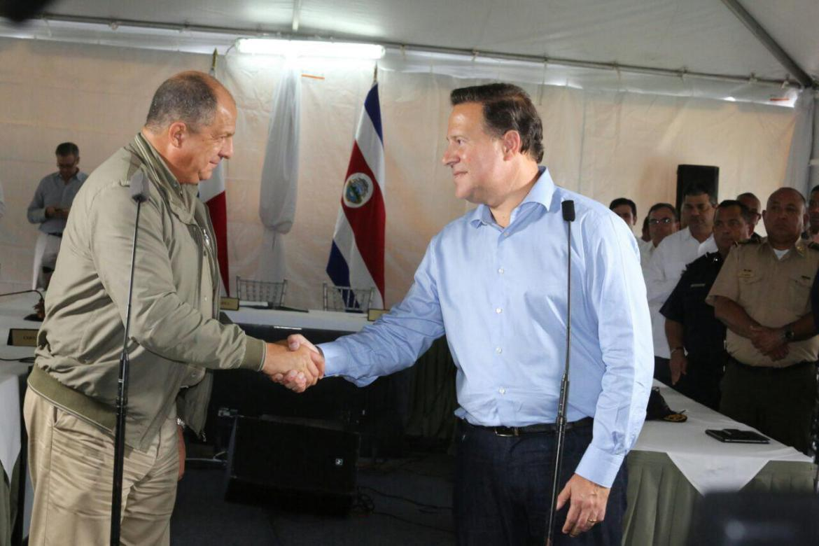 Costa Rica President Luis Guillermo Solis (left) and Panama's president Varela. Photo Casa Presidencial